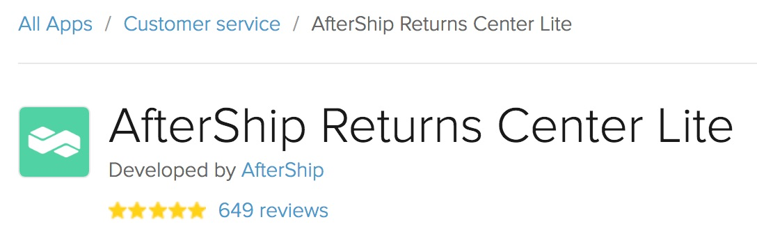 Product renamed to AfterShip Returns Center Lite