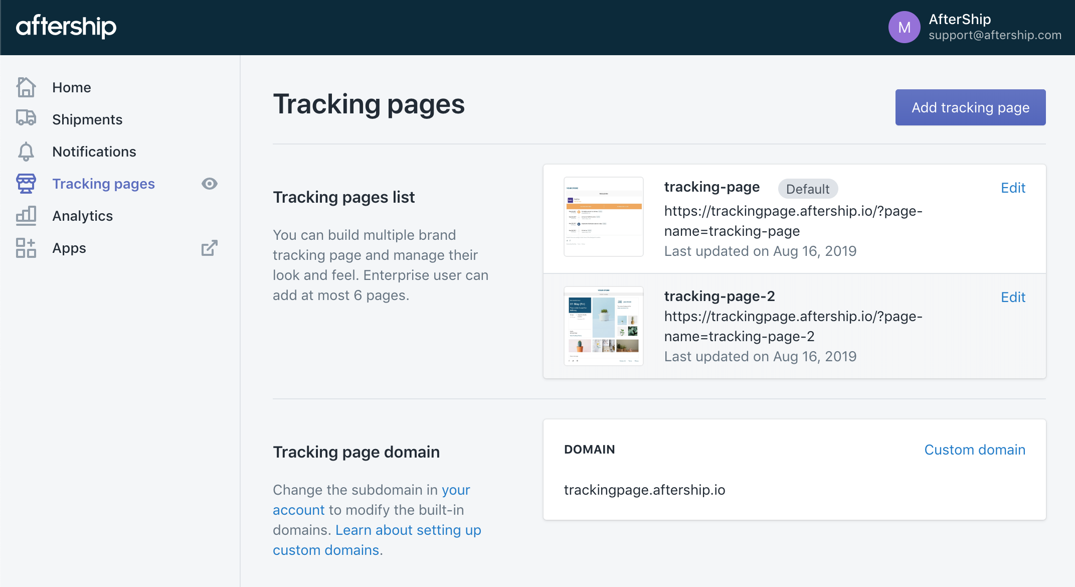 Introducing Multiple Tracking Pages